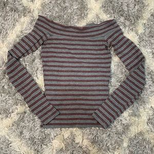 off the shoulder, gray and red long sleeve
